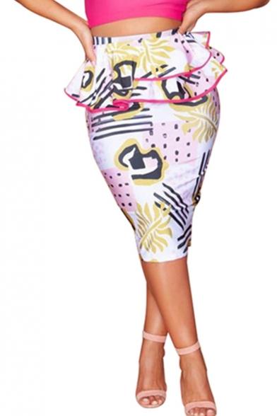 New Trendy White Pattern Peplum Waist Midi Bodycon Pencil Skirt