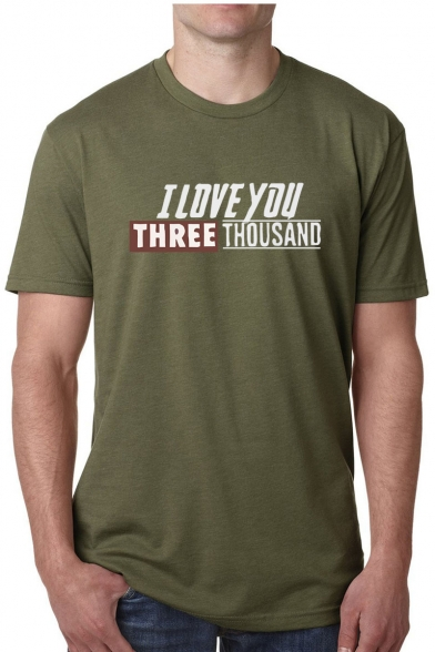 Popular Letter I Love You Three Thousand Basic Short Sleeve Casual Tee