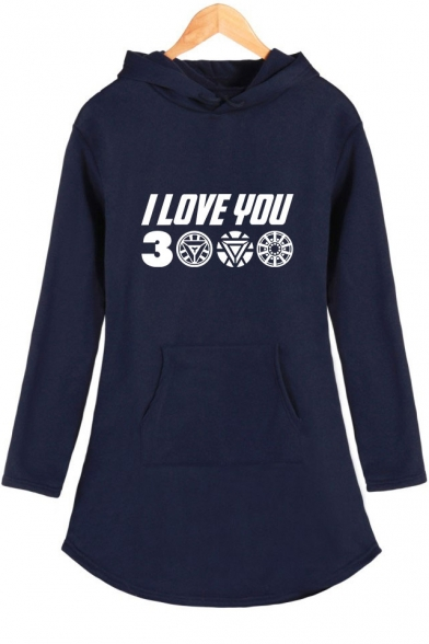 Popular Unique Letter I Love You 3000 Womens Long Sleeve Hooded Dress
