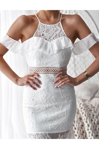 Sexy Hot Style White Plain Print Sleeveless Round Neck Lace Patchwork Midi Bodycon Dress