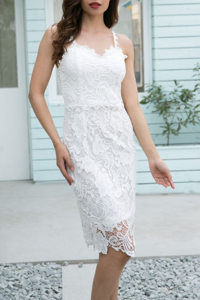 Sexy Spaghetti Straps Slim Hollow Out Lace Midi Slip Pencil Dress with Liner