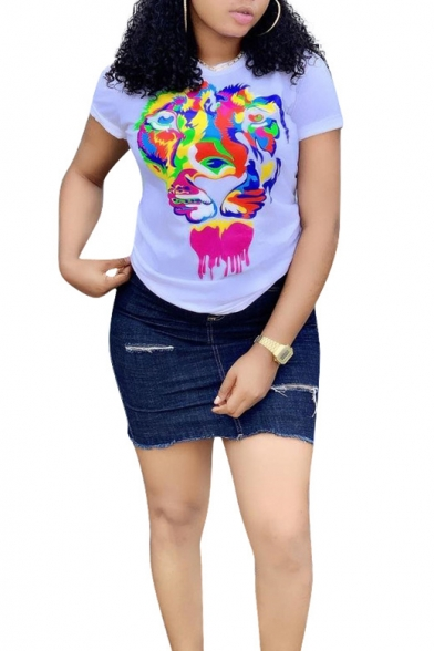 Street Fashion Cool Colorful Tiger Head White Short Sleeve T-Shirt