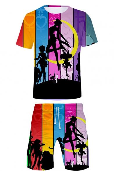 Stylish Comic Girl Sailor Moon Colorblock Striped Unisex Two-Piece Set