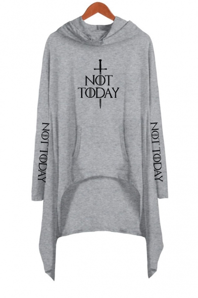 Stylish Sword Letter NOT TODAY Long Sleeve Hooded Casual Asymmetrical Dress
