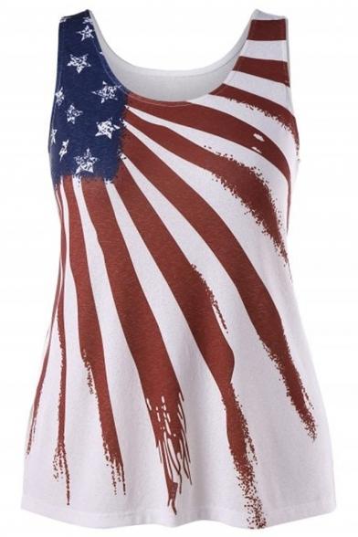 Summer Popular Stripe Star Flag Printed Round Neck Tank Top