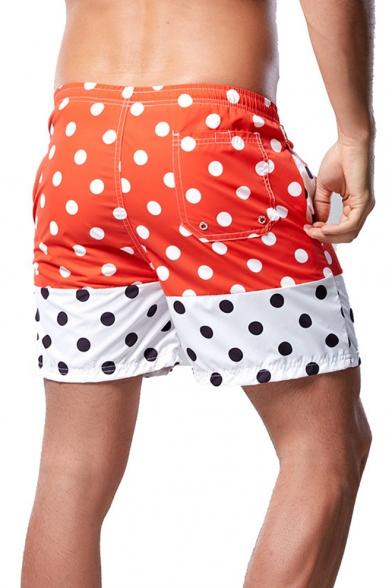 Summer Stylish Polka Dot Printed Drawstring Waist Quick Dry Mens Beach Board Shorts