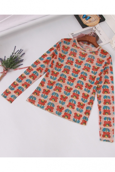 Summer Unique Allover Floral Printed Long Sleeve Slim Fit Mesh T-Shirt