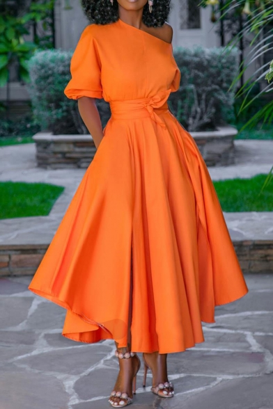 Summer Unique Orange Vintage Puff Sleeve Tied Waist Maxi Fit and Flared Swing Dress