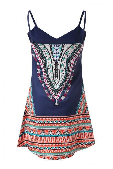 Summer Unique Tribal Printed V-Neck Sleeveless Mini Strap Dress Beach Dress