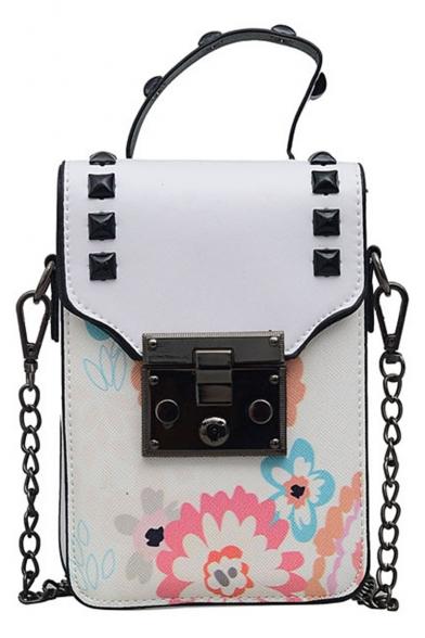Trendy Floral Printed Rivet Embellishment Portable Crossbody Phone Wallet 11*4*16 CM