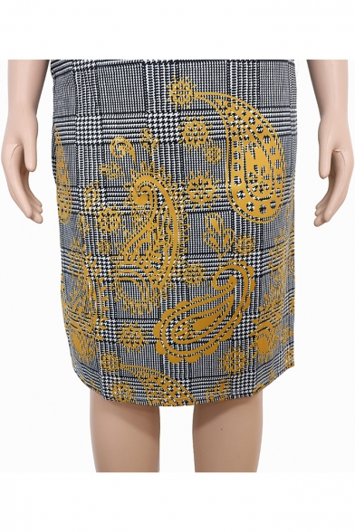 Trendy Gray Plaid Printed Round Neck Half Sleeve Midi Oversized Pencil Dress