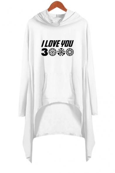 Unique Letter I Love You 3000 Long Sleeve Asymmetrical Casual Loose Hooded Dress