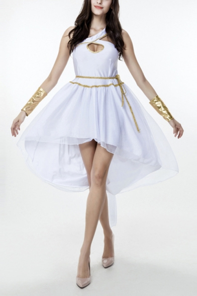 White Greek Goddess Cosplay Costume One Shoulder Cutout High Low Swing Dress
