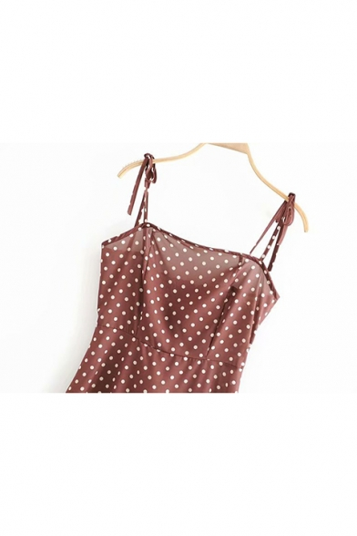 Women's Chic Coffee Polka Dot Printed Mini A-Line Strap Dress
