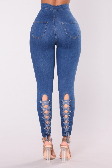 Women's High Rise Stretch Fit Chic Lace-Up Back Dark Blue Super Skinny Fit Jeans