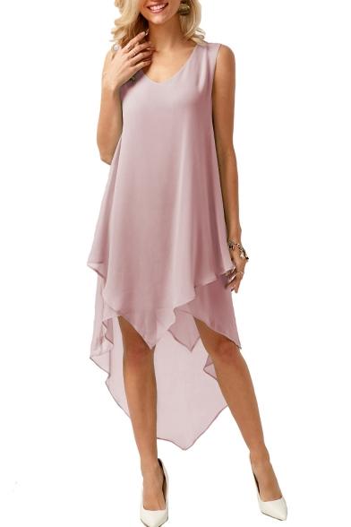 Women's Hot Fashion V-Neck Sleeveless Plain Print Asymmetric Hem Midi Tank Chiffon Dress