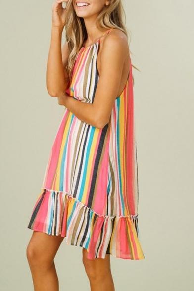 Women's Sleeveless Round Neck Colorful Stripes Printed Peplum Hem Mini Slip Dress