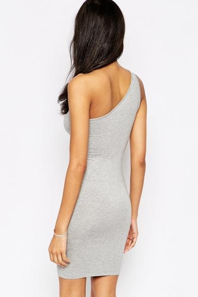 Women's One Shoulder Sleeveless Plain Mini Grey Bodycon Dress