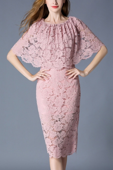 Women's New Trendy Simple Plain Half Sleeve Round Neck Lace Cut Out Midi Pencil Dress
