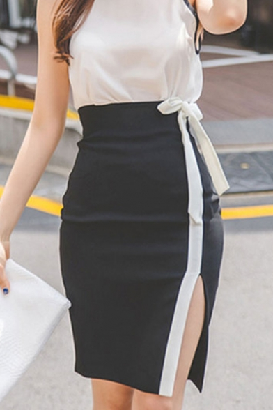 Womens Fashion Black and White Colorblock Bow-Tied Waist Slit Side Bodycon Skirt