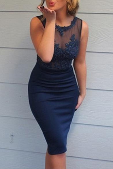 Womens Hot Fashion Sexy Round Neck Sleeveless Plain Print Lace Patch Midi Pencil Navy Dress