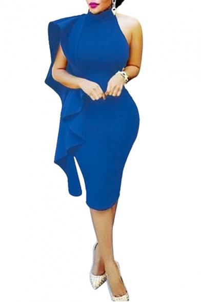 Womens New Trendy Elegant Halter Sleeveless Plain Print Backless Mini Bodycon Dress