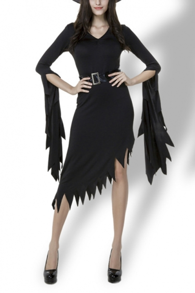 Womens Simple Solid Color V-Neck Extra Long Sleeve Halloween Witch Cosplay Costume Black Asymmetrical Dress