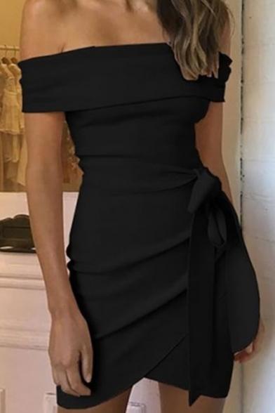 Womens Stylish Plain Printed Off The Shoulder Bow-Tied Waist Asymmetric Hem Mini Bandeau Dress