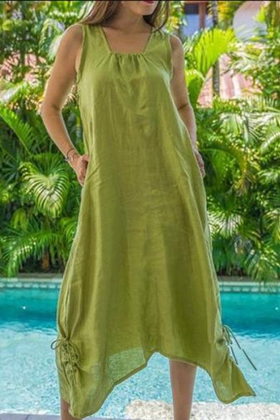 Womens Summer Hot Fashion Simple Solid Color Sleeveless Drawstring Hem Maxi Loose Linen Dress