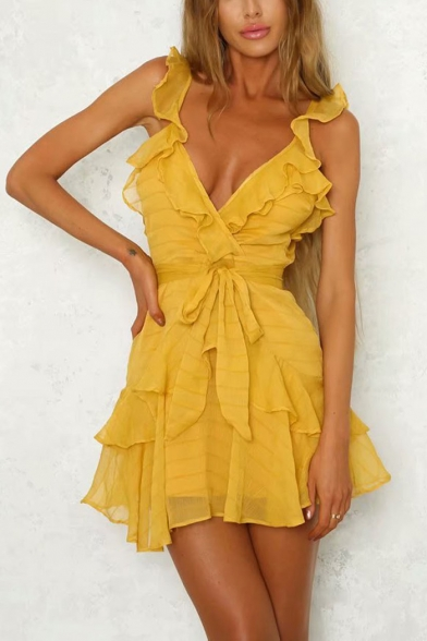 Womens Summer New Fashion Solid Color Ruffled V-Neck Tied Waist Mini A-Line Tulle Dress
