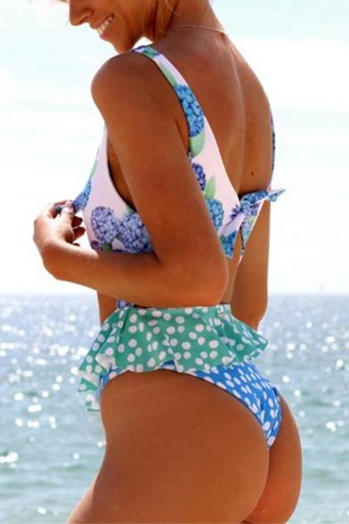 Womens Trendy Ruffled Hem Knotted V-Neck Cutout Blue One Piece Swimsuit Swimwear