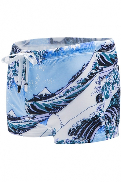 Cool Light Blue Wave Printed Training Shorts Surfing Swim Shorts for Guys