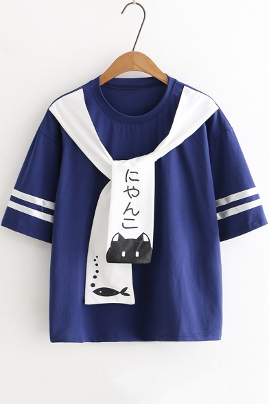 Cute Cartoon Cat Fish Tied Round Neck Short Sleeve Loose Fit T-Shirt