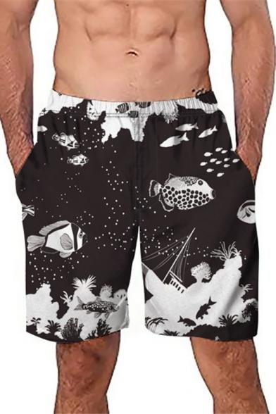 Cute Funny Cartoon Fish Men's Black Casual Beach Swim Trunks
