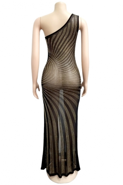 Fashion Hot drill One Shoulder Split Front Gold Maxi Sheath Dress