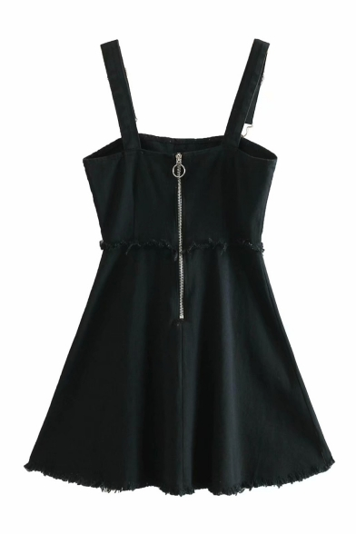 Girls Chic Pearl Button Front Frayed Hem Mini A-Line Denim Overall Dress for Women