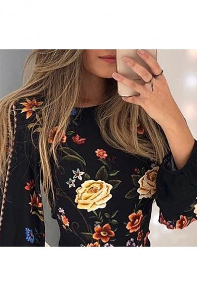 Floral Print Long Sleeve Round Neck Black Cut Out Back Mini Bodycon Dress