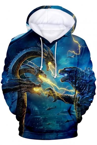 King of the Monsters Blue 3D Printed Unisex Sport Loose Hoodie
