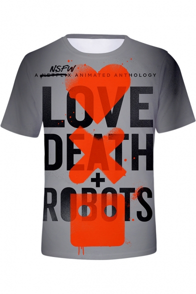 LOVE DEATH + ROBOTS Letter Heart Printed Unisex Gray Round Neck Short Sleeve Tee