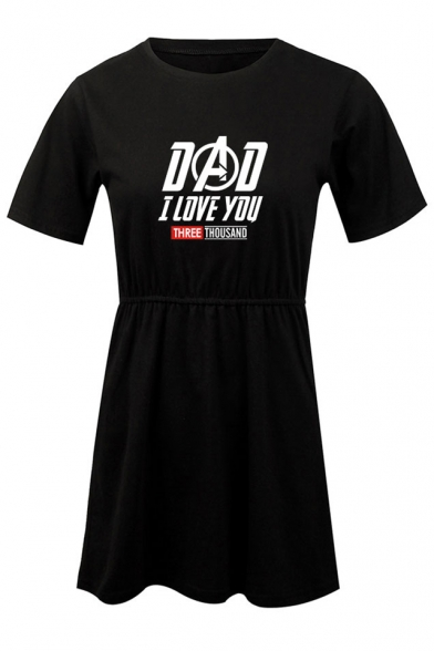 New Stylish Letter DAD I LOVE YOU THREE THOUSAND Short Sleeve Round Neck Mini A-Line T-Shirt Dress