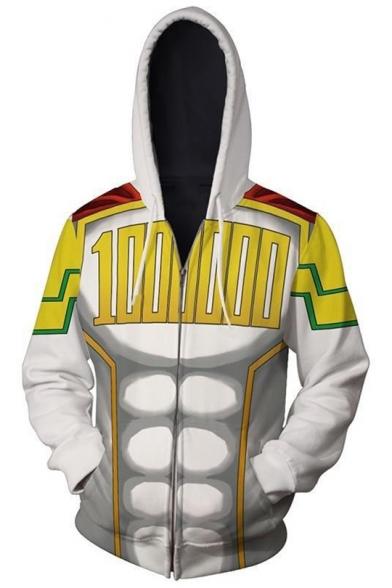 New Trendy Comic Anime Cosplay 3D Printed Long Sleeve Zip Up White Hoodie