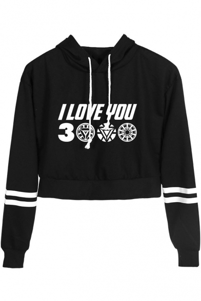 New Trendy Letter I Love You 3000 Stripe Long Sleeve Pullover Drawstring Cropped Hoodie