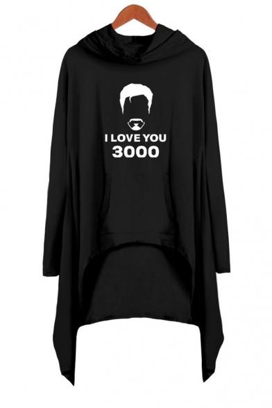 Popular Figure Letter I Love You 3000 Long Sleeve Asymmetrical Hooded Dress