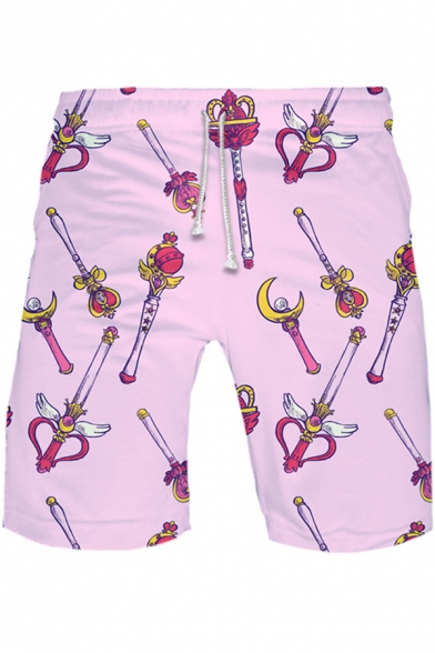Sailor Moon Comic Magic Wand Printed Pink Sport Loose Summer Athletic Shorts
