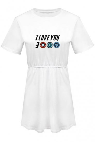 Summer Basic Round Neck Short Sleeve Fashion Letter I Love You 3000 Mini A-Line T-Shirt Dress