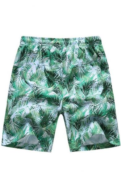 Summer Fashion Tropical Plants Printed Drawstring Waist Quick Dry Men's Casual Beach Swim Shorts