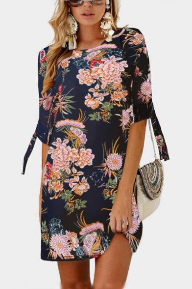 Summer Hot Fashion Floral Print Tie 3/4 Sleeve Round Neck Mini Shift Chiffon Dress for Women