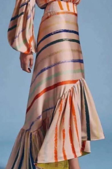 Women's Apricot Striped Print Round Neck Long Sleeve Ruffle Detail Maxi Asymmetrical Dress