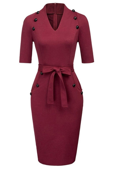Baycheer / Women's Chic Button Embellished V-Neck Simple Plain Tied Waist Midi Pencil Dress