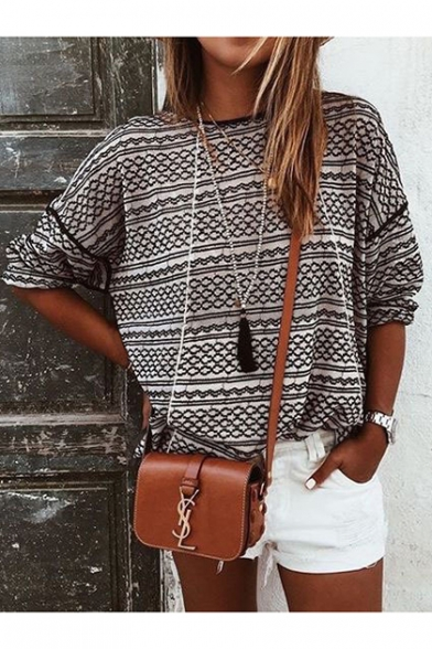 Women's Geometric Stripe Print Long Sleeve Round Neck Relaxed Black Jersey T-Shirt